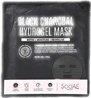 SOO'AE Black Charcoal Hydrogel Mask, Detox/Moisturize/Revitalize x2 Masks