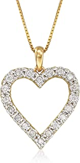 Ross-Simons 0.30 ct. t.w. Diamond Heart Pendant Necklace in 18kt Gold Over Sterling