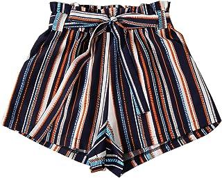 SweatyRocks Women's Elastic Waist Floral Print Paper Bag Waist Belted Shorts