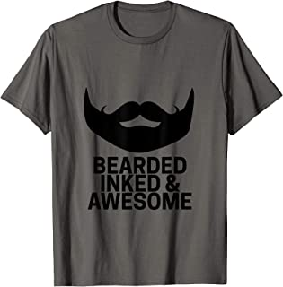 Mens Bearded Inked and Awesome T-Shirt Beard Tattoo Tee For Men