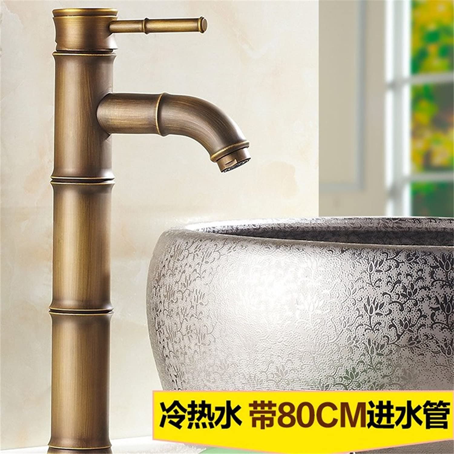 WasserhahnTap Copper European antique faucet retro single hole basin faucet bronze color washbasin hot cold elbow three-section piping