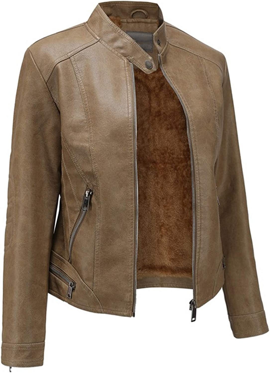 EverNight Womens Faux Leather Jackets,Moto Biker Slim Fit Short Casual Coats,Vintage Spring Fall Outwear,Brown,L
