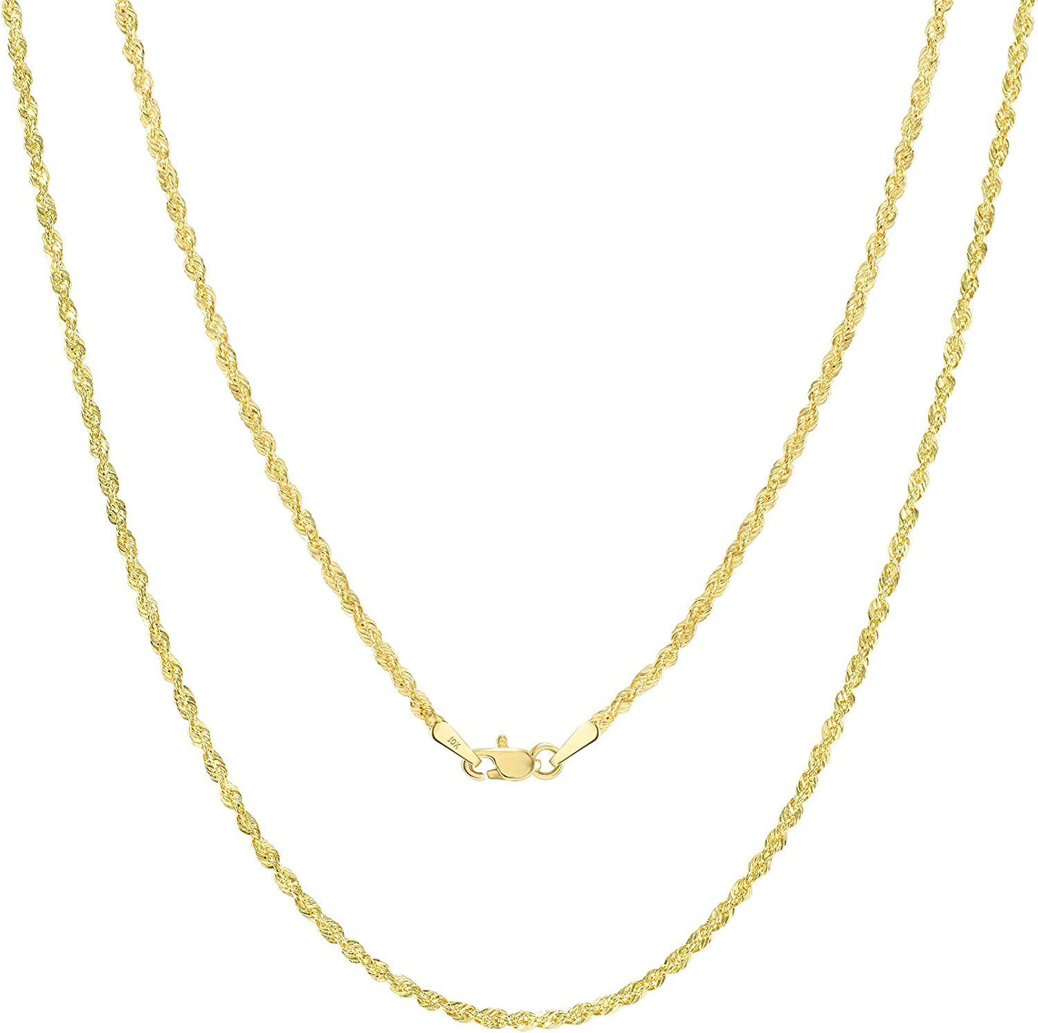 Nuragold 10k Yellow Gold 2mm Diamond Cut Rope Chain Pendant Necklace, Womens Mens Jewelry Lobster Lock 16