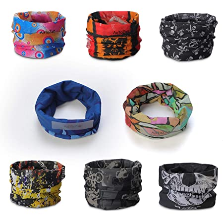 8 Pack Sport Headwear Bandanas, UV Resistance Seamless Magic Scarf Tube Mask