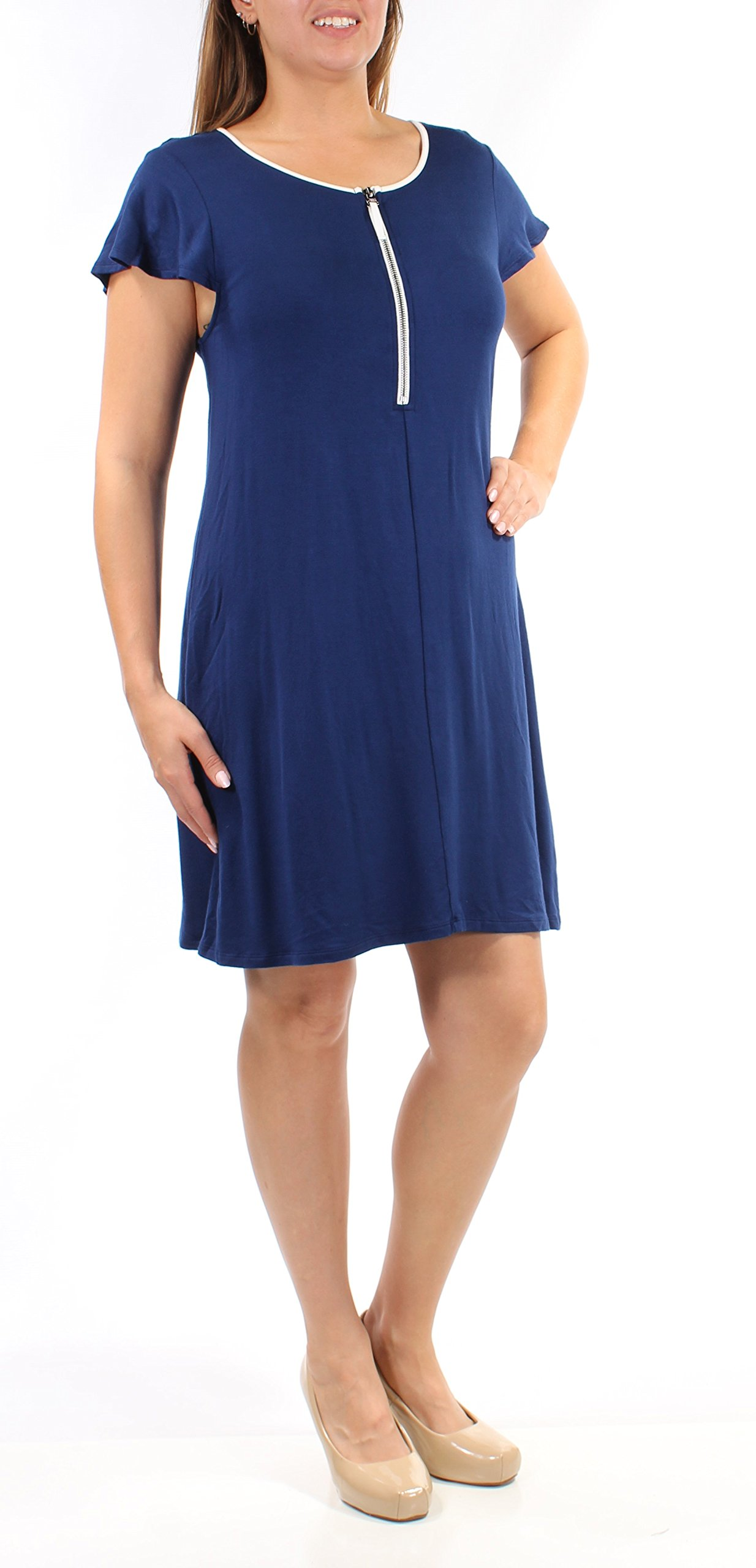 Available at Amazon: kensie Zip-Detail T-Shirt Dress Blue Size XXL