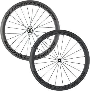 Superteam Carbon Fiber Road Bike Wheels 700C Clincher Wheelset 50mm Matte 23 Width