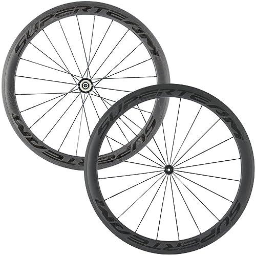 8170c72c33a Superteam Carbon Fiber Road Bike Wheels 700C Clincher Wheelset 50mm Matte  23 Width