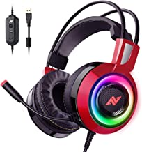 ABKONCORE CH60 Gaming Headset with True 7.1 Surround Sound for PC, PS4, Laptop, Bass Vibration, Noise Cancelling, Soft Earmuffs Headphones with Mic, LED Light, in-line Controller for FPS Games (Red)