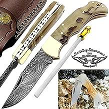Pocket Knife 6.5'' Ram Horn Damascus Steel Knife Brass Bloster Back Lock Folding Knife +Sharpening Rod Pocket Knives 100% Prime Quality+ Olive Wood Stainless Steel Small Pocket Knife & Damascus Knife