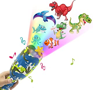 weird tails Projector Flashlight Baby Toys Animal Dinosaurs Toy Slides Sleep Preschool Toys with 8 Patterns Light Show Musical and Educational Toy for Kids Boys and Girls