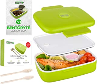 BENTO RYTE Bento Box for Adults and Kids - Leak-Proof 5 Compartment Lunch Container with Dividers - Bonus E-Book and Cutlery