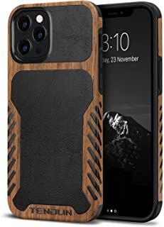 TENDLIN Compatible with iPhone 12 Pro Max Case Wood Grain with Leather Outside Design TPU Hybrid Case