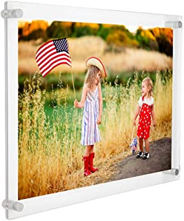 Wall Mount Floating 8x10 Picture Frames, Clear Acrylic 8 x 10 Picture Frame Frameless A4 Letter Size for Family Photos Document Certificate Signs Display (8.5x11,8x12,8x11)