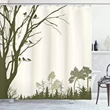 Ambesonne Forest Shower Curtain, Nature Theme The Panorama of a Forest Pattern Birds on Tree Branches Print, Cloth Fabric Bathroom Decor Set with Hooks, 75