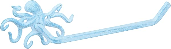 Hampton Nautical K 9205 Light Blue Light Blue Whitewashed Cast Iron Octopus Toilet Paper Holder 11 Beach Bathroom Decor Beach Decor