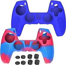 Simpeak Pacote com 2 capas protetoras de silicone compatível com controle sem fio Playstation 5 PS5 DualSense 2020 com 8 t...
