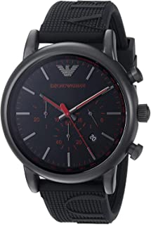Emporio Armani Men's Black Dial Silicone Band Watch - AR11024