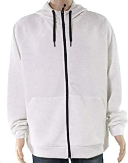 32 Degrees Mens Sweater White Ivory Size XL Space Dyed Hoodie Full Zip