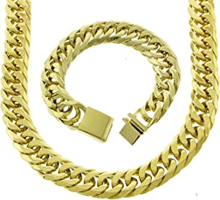 Mens Thick Tight Link Yellow Gold Finish Miami Cuban Link Chain And Bracelet Set Box Lock JayZ 18mm