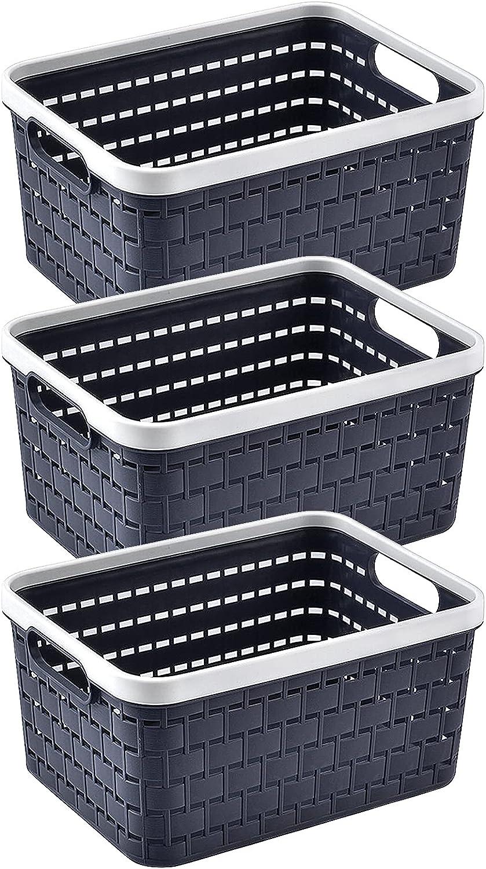 Cestas de Almacenamiento de plástico,3 piezas Cajas para Almacenamiento Organizador de Almacenamiento Cesta de Rectangular con asas Cesta de tejido de plástico para cocina, baño y armario (dark gray)