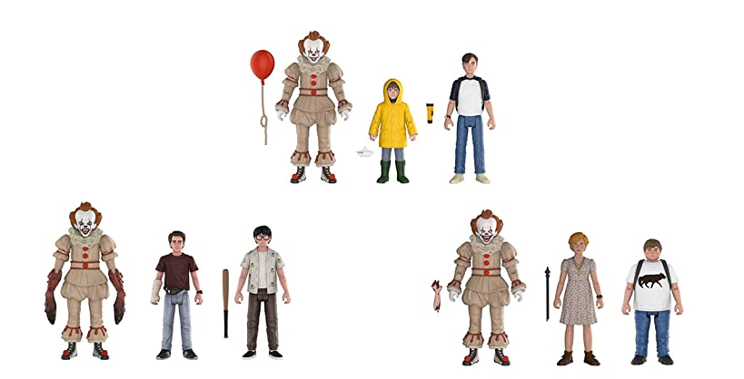 Funko Action Figure 3-Packs: Bundle of 3 - Pennywise with Georgie and Bill, Pennywise with Beverly and Ben, and Pennywise with Richie and Eddie