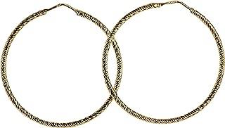 Boucles doreilles cr/éoles /à charni/ère en argent massif plaqu/é or 22 cts par 365 Sleepers 10 mm