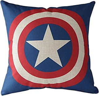 VIPbuy Comic Superhero Cotton Linen Decorative Square Throw Pillow Case Sofa Waist Cushion Cover 18 x18 inches (Captain America)
