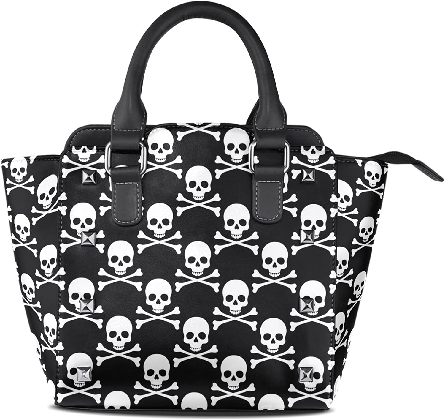 My Little Nest Women's Top Handle Satchel Handbag Black White Skulls Pattern Ladies PU Leather Shoulder Bag Crossbody Bag