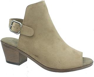 Pierre Dumas Sorrento-4 Womens Open Back Buckle Peep Toe Chunky Heel Bootie Sandals