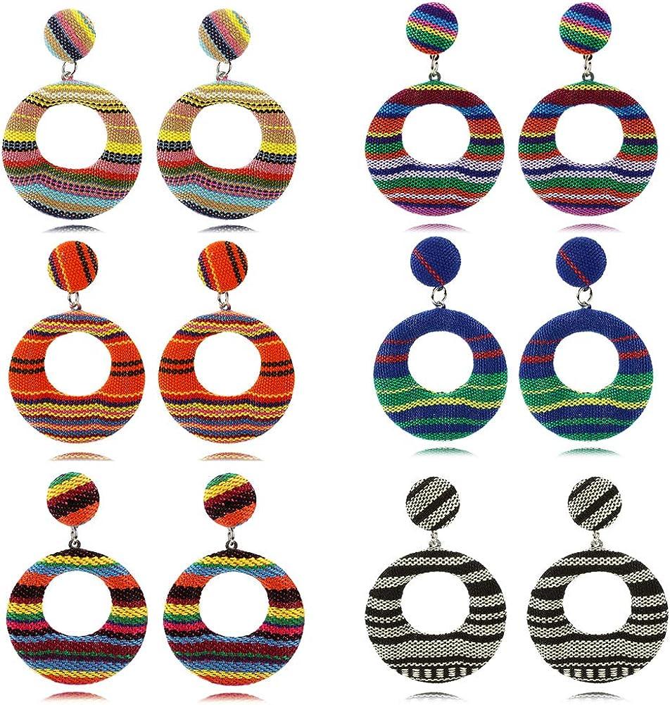 KPOWIN 6 Set Colorful Hoop Earrings Lightweight Handmake Nepal Woven Bohemian Style Lattice Pattern Hoop Earings for Women Or Girls