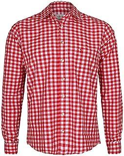 Almsach Herren Trachtenhemd Slim fit rot-Weiss kariert Langarm - Der Klassiker für alle Oktoberfeste und Volksfeste, ROT,