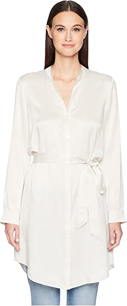 Silk Charmeuse Shirt Dress.