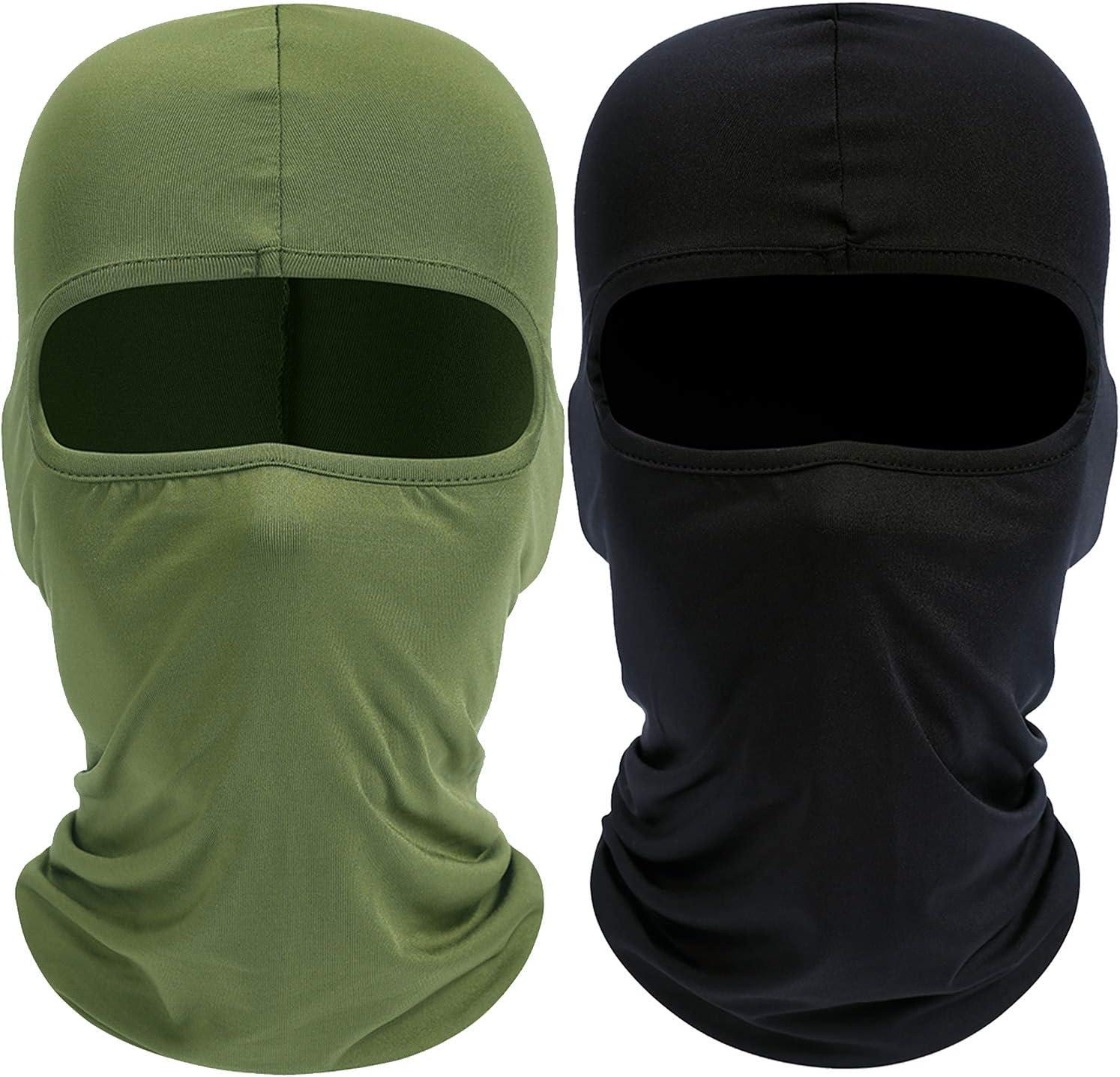 Your Choice Balaclava Ski Face Mask UV Protection, Set of 2 Black and Green