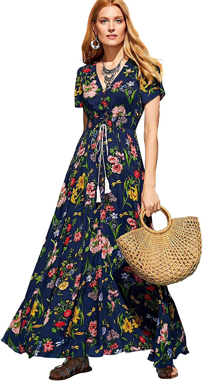 Milumia Women's Floral Print Button Up Party Flowy Maxi Dress