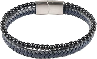 GWD Mens Bead Leather Bracelet, Brown, Black, Gray Magnetic Stainless Steel Clasp Bracelets