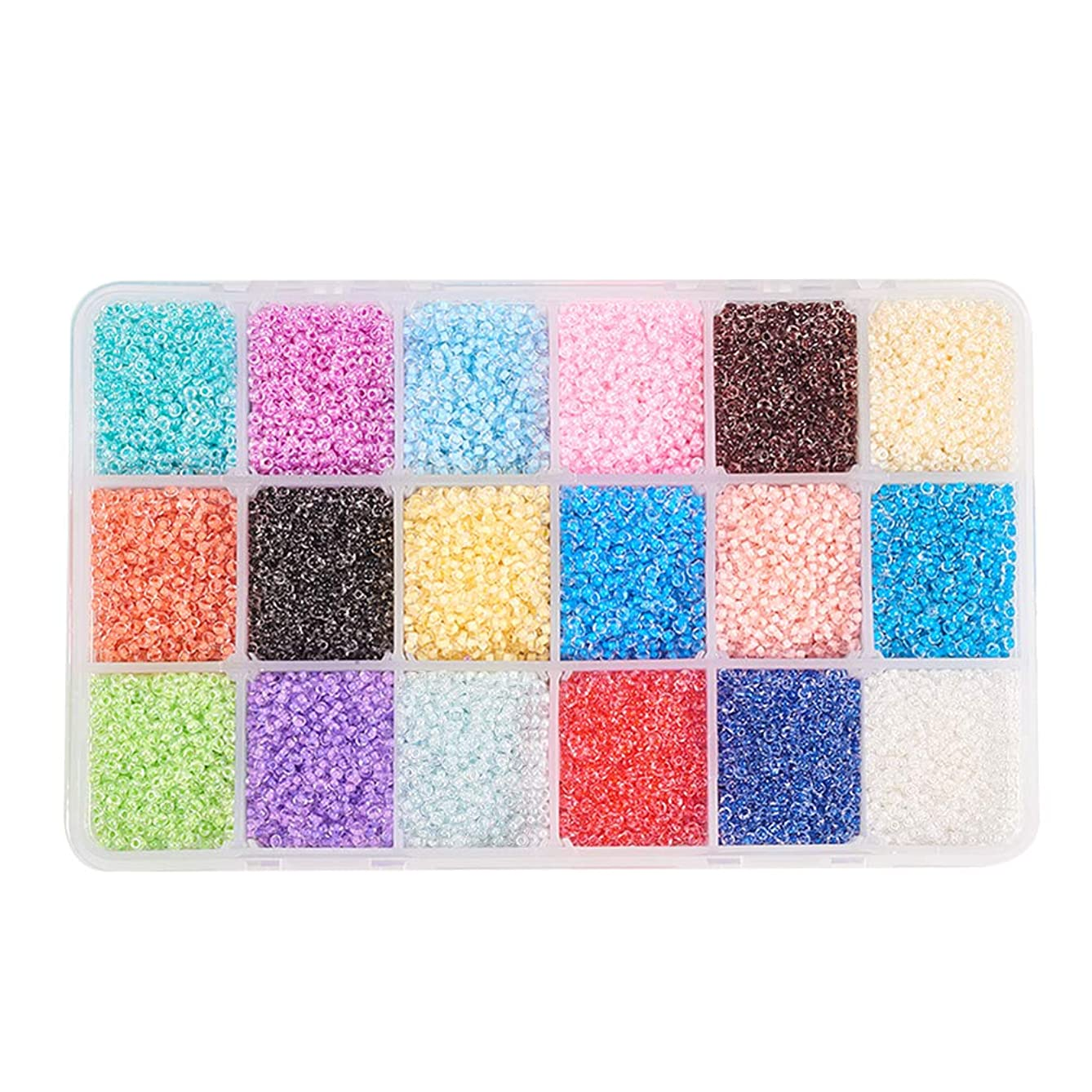 PandaHall Elite About 37800 Pcs 13/0 Multicolor Beading Glass Seed Beads 18 Colors Transparent Round Pony Bead Mini Spacer Beads Diameter 2.3mm with Container Box for Jewelry Making