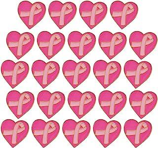 24 دبوس سرطان الثدي - دبوس قلب معدني صغير باللون الوردي مقاس 1 بوصة للتوعية بسرطان الثدي | لجمع التبرعات، والجمعيات الخيري...