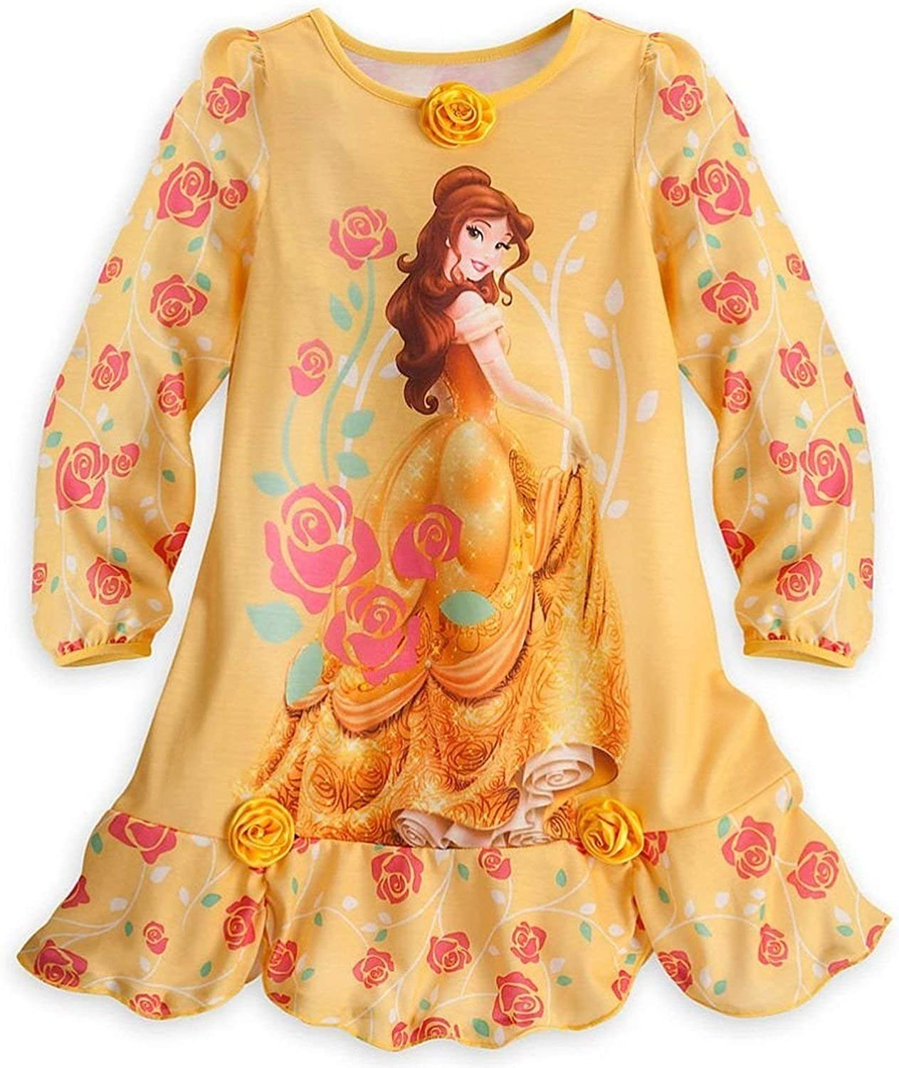 Disney Store Princess Belle Girl Long Sleeve Deluxe Nightgown Pajama Size 5/6