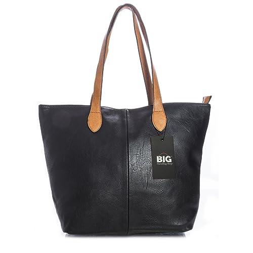 Big Handbag Shop Womans Designer Plain Soft Tote Shoulder Bag ccb5ad1dbb94f