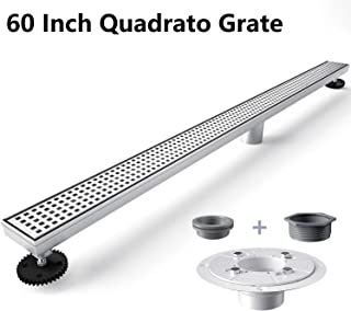 Ushower 60 Inch Linear Shower Floor Drain with Base Flange, Quadrato Pattern Brushed Nickel Rectangle Bathroom Drain with Leveling Feet, Threaded Adapter, Hair Strainer, Rubber Gasket (Grey)