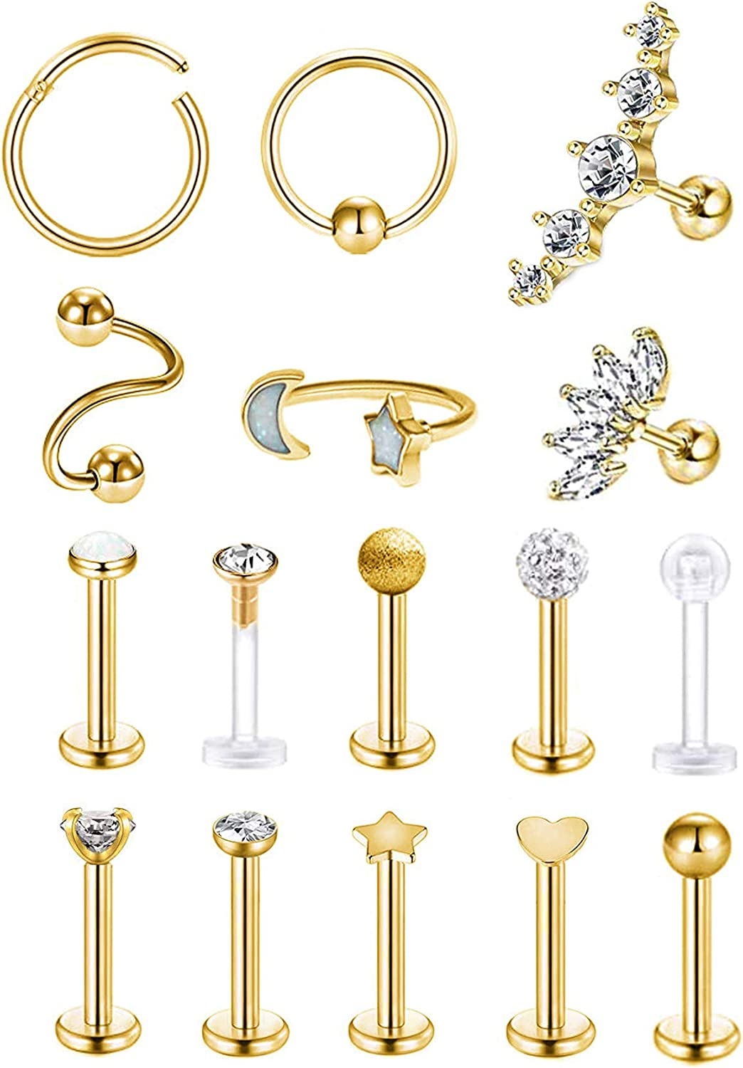 REVOLIA 16 Pcs 16G Stainless Steel Tragus Earring Cartilage Helix Single Earring Lip Rings Labret Studs Daith Rook Piercing