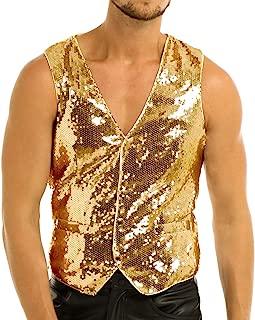 Men's Shiny Metallic PVC Leather Old School Black Costume Vest Top