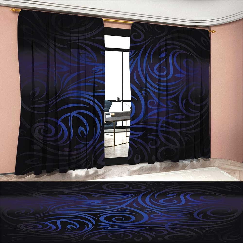 BarronTextile Dark bluee Window Curtain Fabric Antique Victorian Swirled Natural Floral Art Pattern Vignette Effect Drapes for Living Room Dark bluee Royal bluee