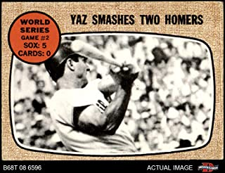 1968 Topps # 152 1967 World Series - Game #2 - Yaz Smashes Two Homers Carl Yastrzemski St. Louis/Boston Cardinals/Red Sox (Baseball Card) Dean's Cards 2 - GOOD Cardinals/Red Sox