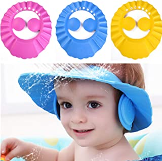 SunTrade 3Pcs Cute Baby Kids Adjustable Shampoo Bath Bathing Shower Cap Hat Wash Hair Shield
