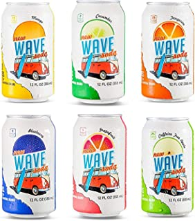 Wave Soda Sparkling Juice, 6 Flavor Variety Pack, Pack of 24, 12 Ounce Cans; 4 Mango, 4 Blueberry, 4 Cucumber, 4 Grapefruit, 4 Tangerine and 4 Apple