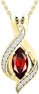 Natural Red Garnet Charm 10x5 Marquise Set In 14K Yellow Gold