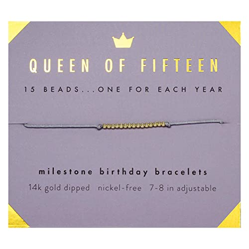 Lucky Feather 15th Birthday Bracelet - Gifts for 15 Year Old Girls - 14K Gold Dipped