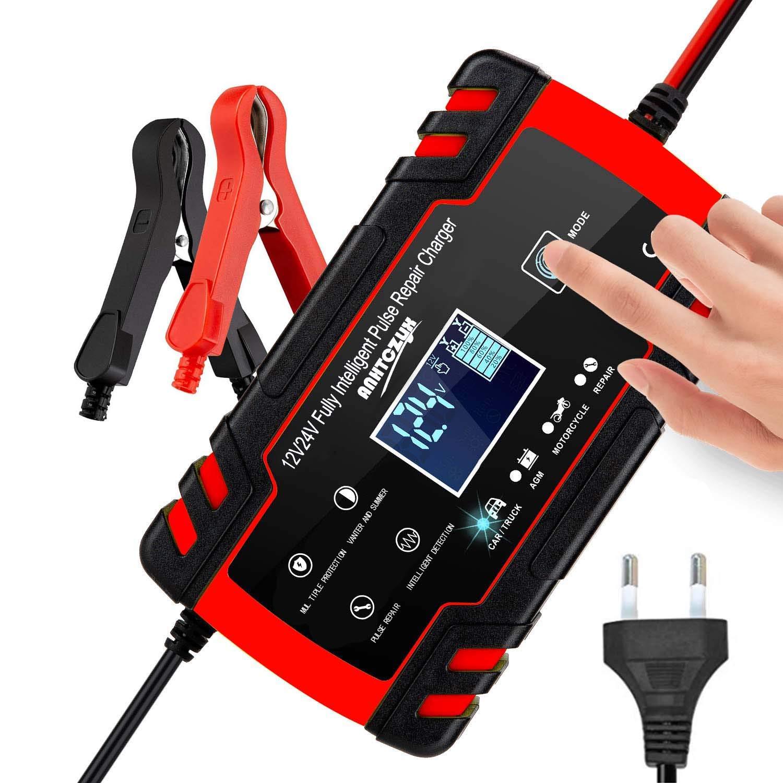 3T6B Cargador de Batería para Coche, 12V/24V 8A Mantenimiento Automático Múltiples Inteligente, Pantalla LED y Botón de la Pantalla Táctil, para Automóviles, Motos, ATVs, RVs, Barco: Amazon.es: Coche y moto