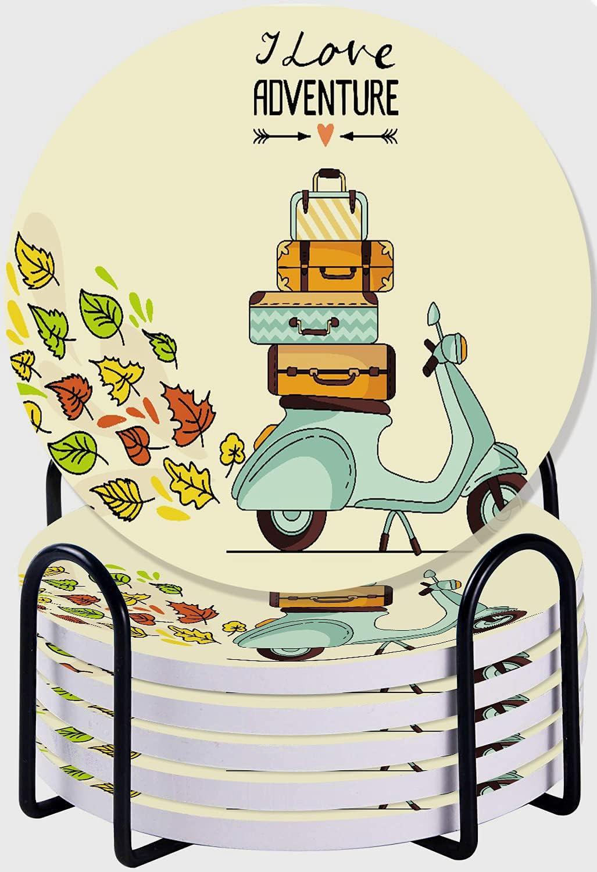 DECISAIYA Posavasos para Bebidas,Laggage Retro Vintage Scooter Equipaje Vespa Ride Italiano Italia Cool Bike Design Juego de 6 Posavasos con Soporte de Metal,para Casa Restaurante Y Bar